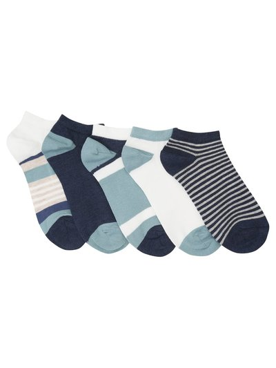 Blue stripe trainer socks five pack