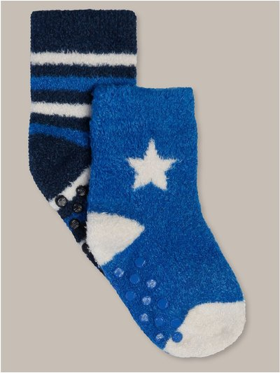 Star and stripe fluffy socks two pack (newborn-24mths)