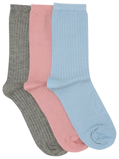 Plain ribbed socks three pair pack