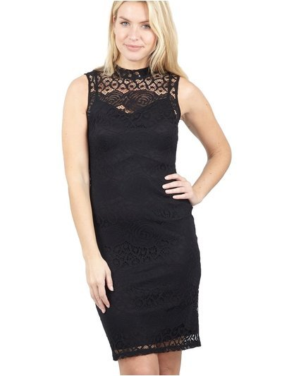 Izabel lace overlay bodycon dress