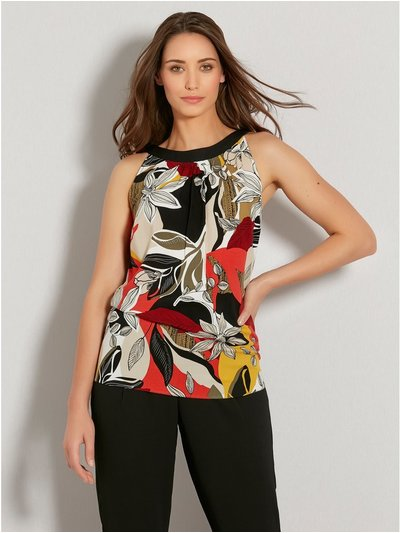 Tribal leaf print halter neck top
