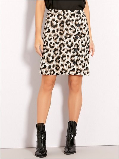Leopard print button front skirt