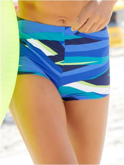 Stripe high waist control swim shorts