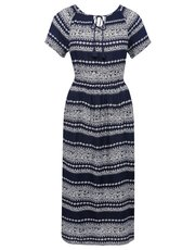 Stripe print peasant midi dress