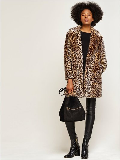 Leopard print faux fur coat
