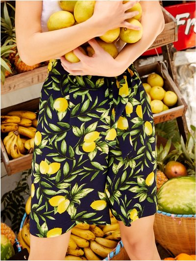 Lemon print tie front shorts