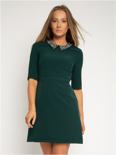 StylistPick woven dress with bead collar