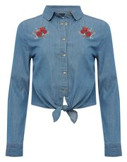 Teens' embroidered denim shirt