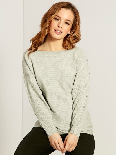 Petite button sleeve ribbed jumper