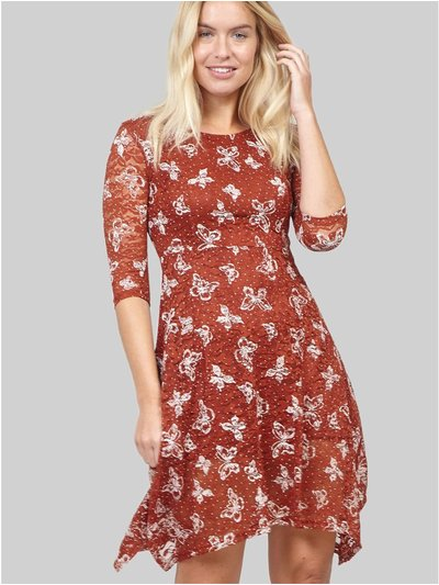 Izabel butterfly print lace tea dress