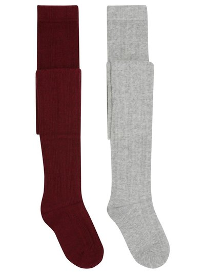 Cable knit tights two pack (1-12yrs)