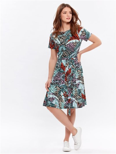 Petite tropical fit and flare dress