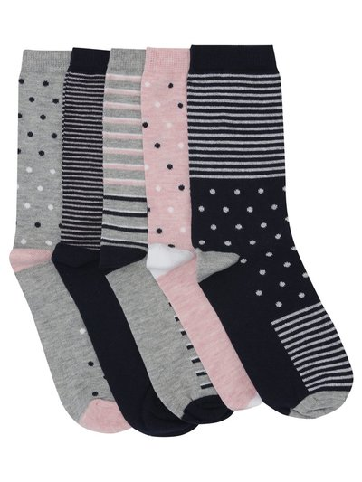 Spot and stripe socks five pair pack