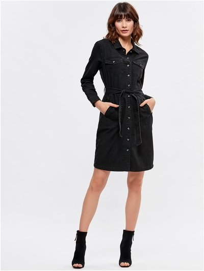 Washed denim shirt dress