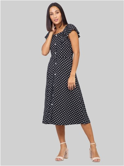 Izabel polka dot button front dress