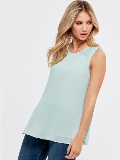 Lace trim pleated top