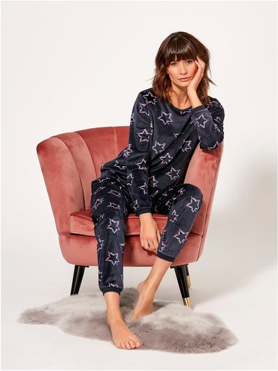 Velour star print pyjama set