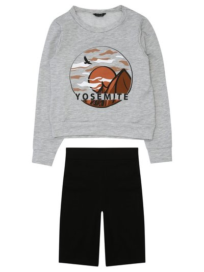 Teen slogan sweatshirt and cycling short pyjamas