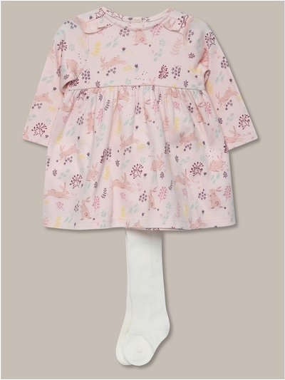 Floral print dress and tights set (newborn-18mths)