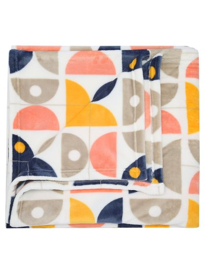 Geometric print fleece throw