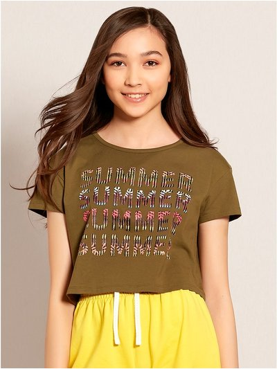 Teens' summer cropped t-shirt