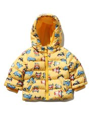 Car print hooded padded jacket