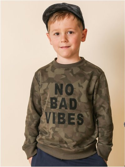 Threadboys camouflage slogan sweatshirt (5-13yrs)