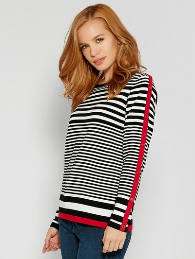 Petite button trim stripe jumper