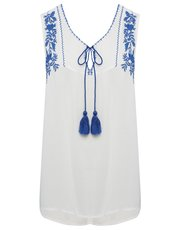 Floral embroidered tassel top