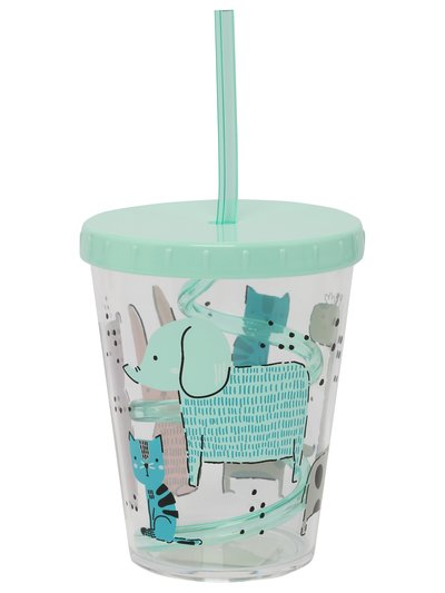 Animal print cup wth straw