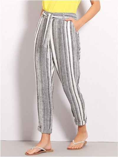 Stripe linen trousers