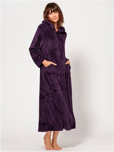 Sparkly fleece zip front dressing gown