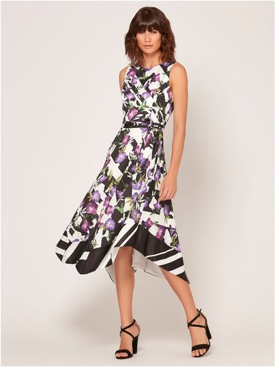 Stripe floral print hanky hem dress