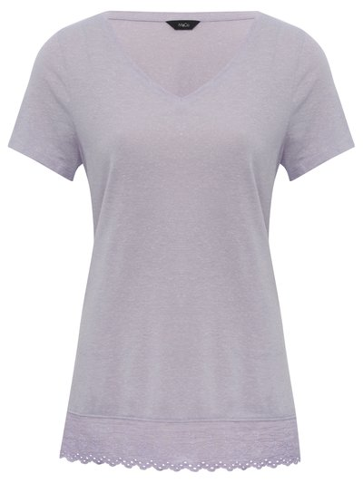 V neck lace trim t-shirt
