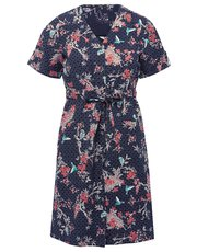 Petite bird print linen dress