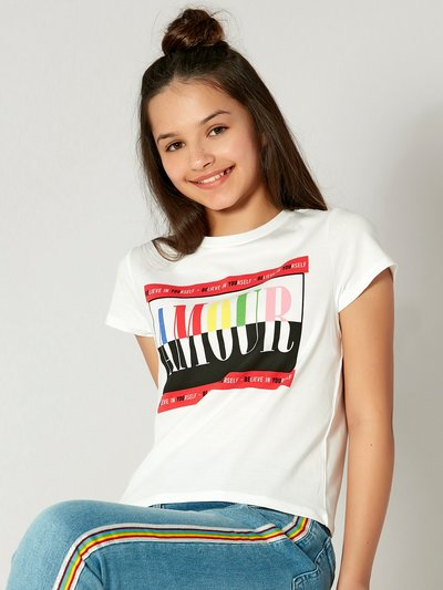 Teens' amour rainbow slogan t-shirt