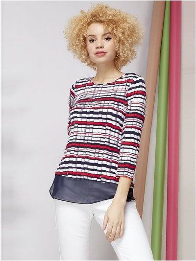 Roman Originals chiffon hem stripe print top