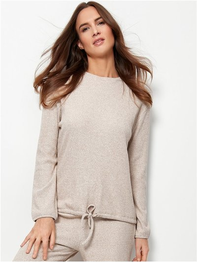 Long sleeve ribbed drawstring hem top