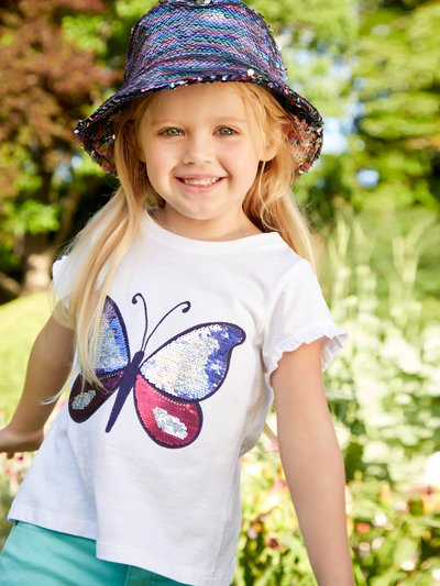 Two way sequin butterfly t-shirt (3 - 12 yrs)
