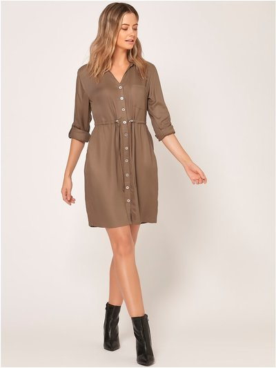 Petite drawstring shirt dress