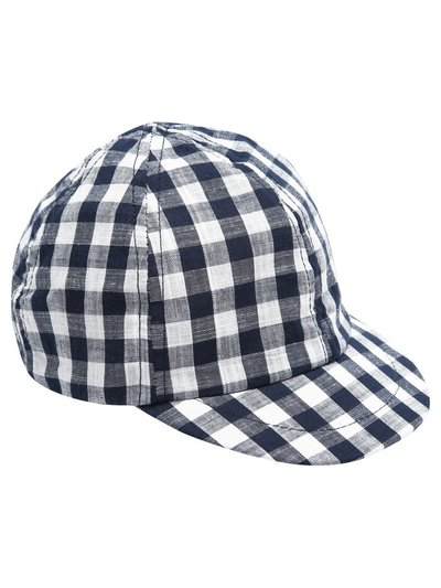 Navy gingham cap (0-24mths)