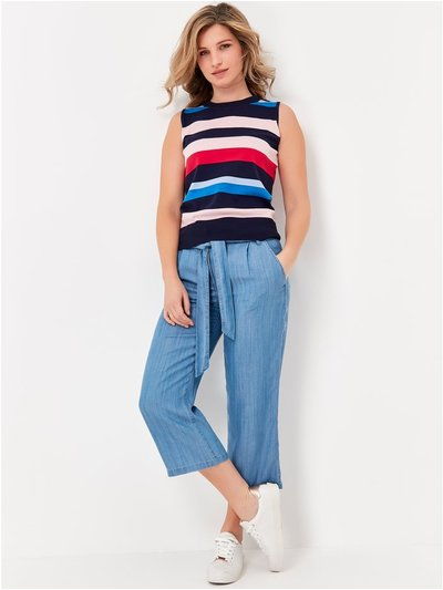 Tencel wide leg cropped trousers