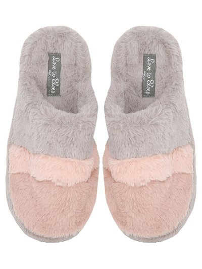 Stripe faux fur mule slippers