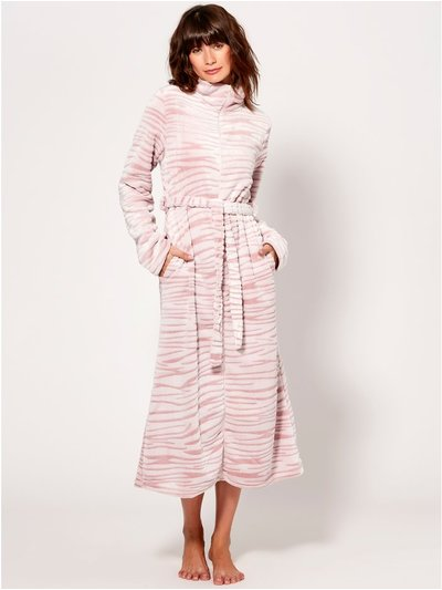 Zebra fleece zip front dressing gown