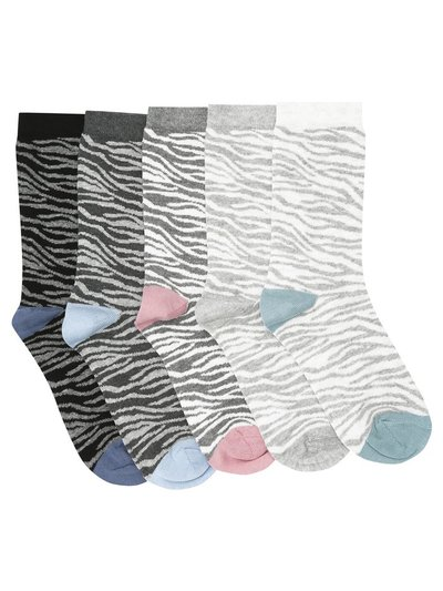 Zebra ankle socks five pair pack