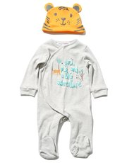 Minoti tiger sleepsuit and hat set