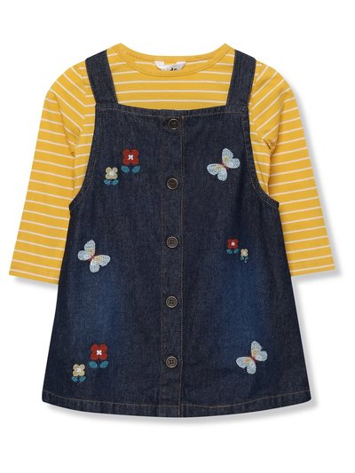 Floral denim pinafore dress and top set (9mths-5yrs)