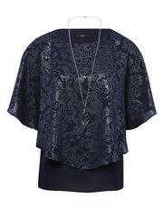 Batwing top with necklace