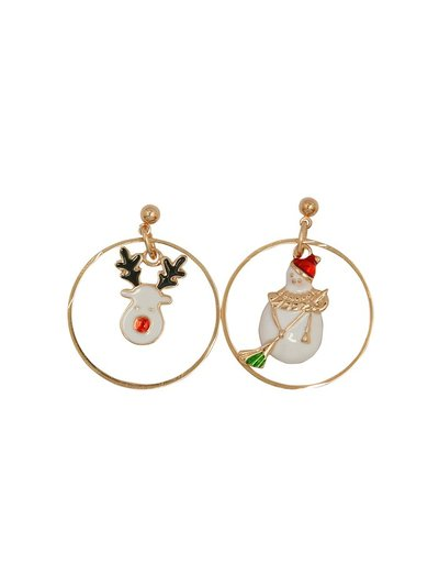 Snowman and reindeer hoop earrings