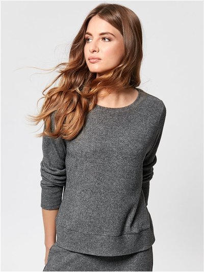 Petite ribbed sweat top